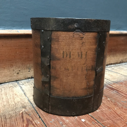 Antique 19th Century Grain Measure with Steel Bands | PamPicks
