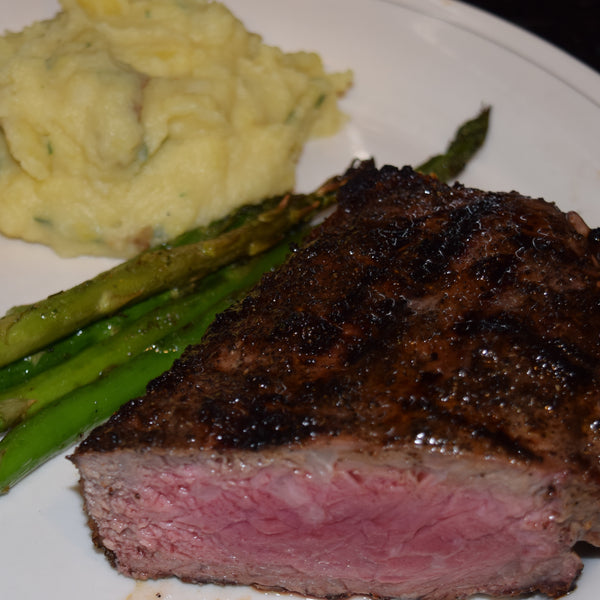Espresso Rubbed New York Strip Steak with Asparagus and Potatoes Puree