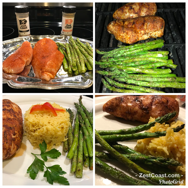 Grilled Chicken Breast with Grilled Asparagus and Yellow Rice