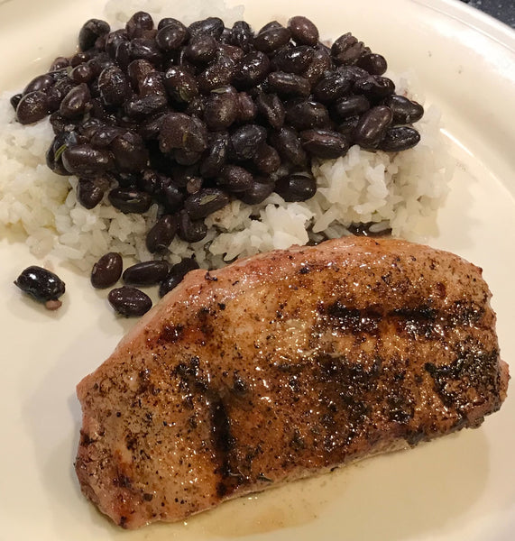 Grilled Pork Loin Chops with Black Beans and Rice