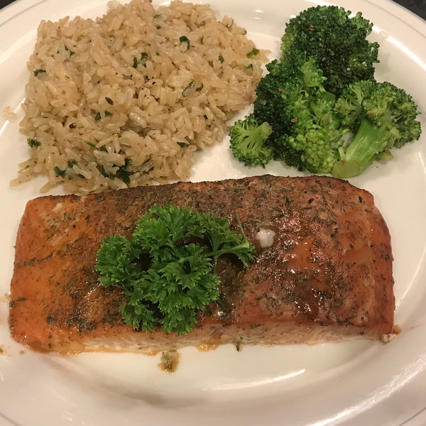 Cedar Plank Salmon with Instant Pot Rice and Broccoli