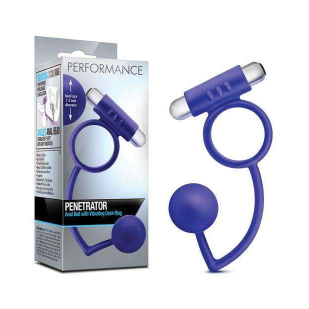 Blush Performance Penetrator Anal Ball w/Vibrating Cock Ring - Indigo,Butt plugs,Top Sex Store