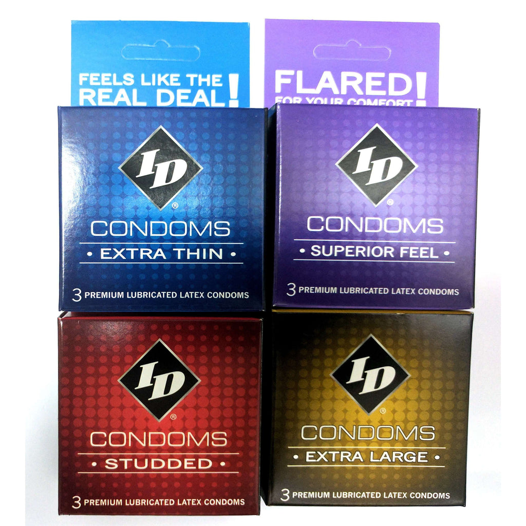 ID Condoms - Case of 72 - 3 Packs - Assorted Styles,3 packs,Top Sex Store