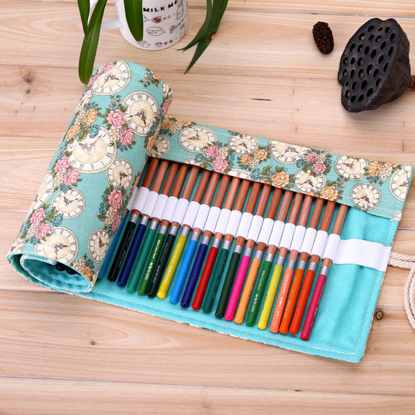 36/48/72 Holes Roll Canvas Pencil Case