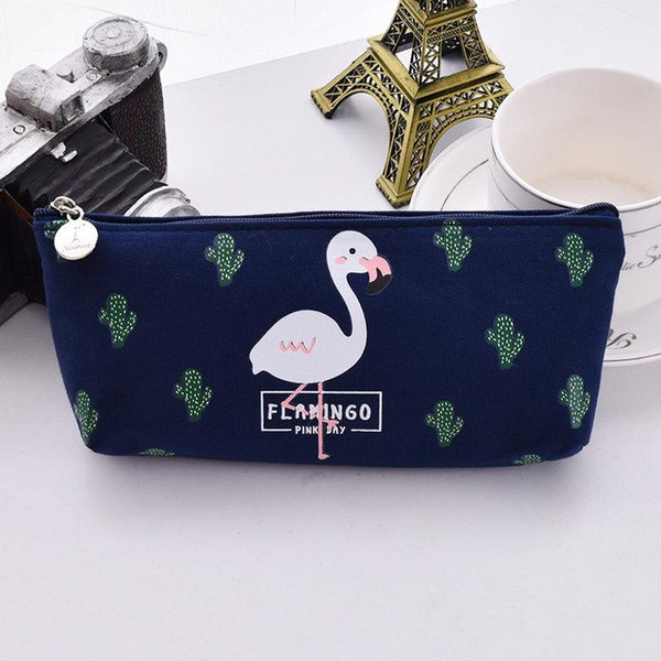 Flamingo Canvas Pencil Case