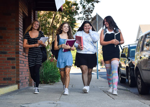 back to school outfit ideas, thigh high stockings