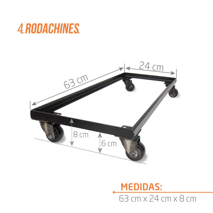 BASE EN HIERRO RECTANGULAR CON RUEDAS 63 CM - Tumatera.co