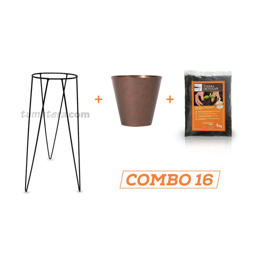 KIT MATERA CORTEN + TIERRA + BASE 20 X 50 CM - Tumatera.co