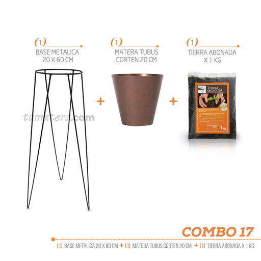 KIT MATERA CORTEN + TIERRA + BASE 20 X 60 CM - Tumatera.co