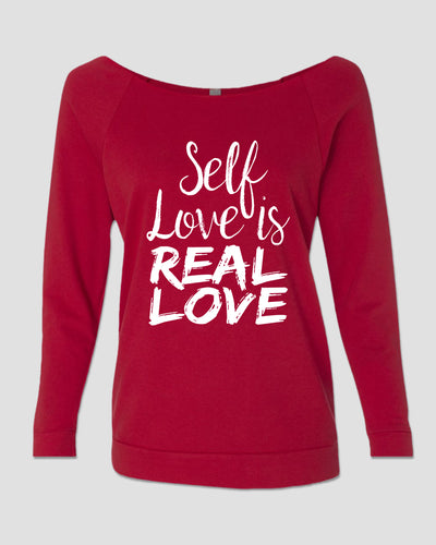 T-shirt: 3/4 Slouch French Terry - Self Love -Red