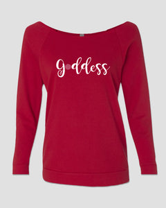 T-shirt: 3/4 Slouch French Terry - Goddess Red with White