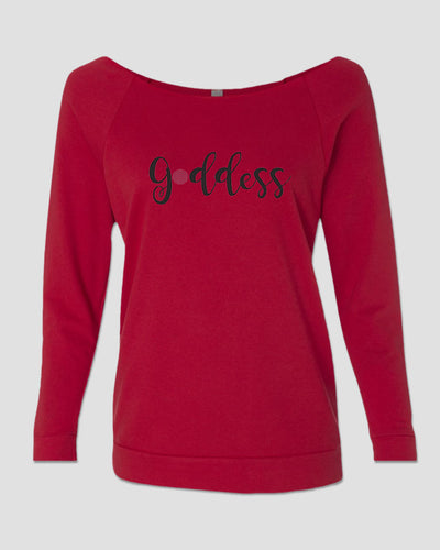 T-shirt: 3/4 Slouch French Terry - Goddess Red with Black