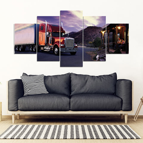 5Pcs Freightliner Classic Framed Canvas 7