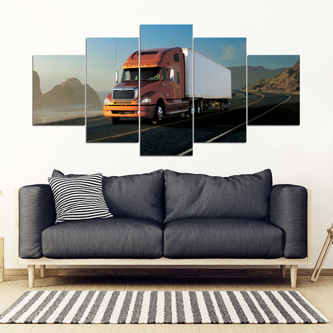 5Pcs Freightliner Columbia Framed Canvas 9