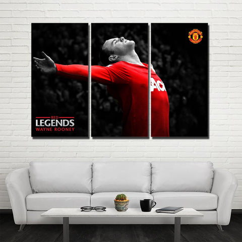 3Pcs MU Legend Rooney Canvas 1