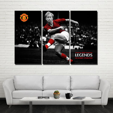 3Pcs MU Legend Sir Bobby Charlton Canvas 1