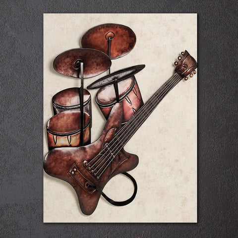 1Pcs Vintage Drum and Guitar Canvas