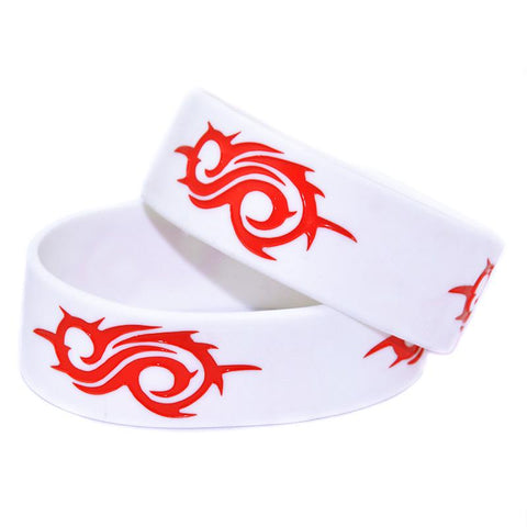 "Slipknot Silicone Wristband, 25PCS/Lot, 1"" Wide, Repeat 3 Big Logos Around The Bracelet"