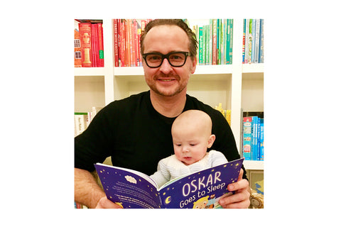 George Berkowski with son Oskar reading their 'Goes to Sleep' book.