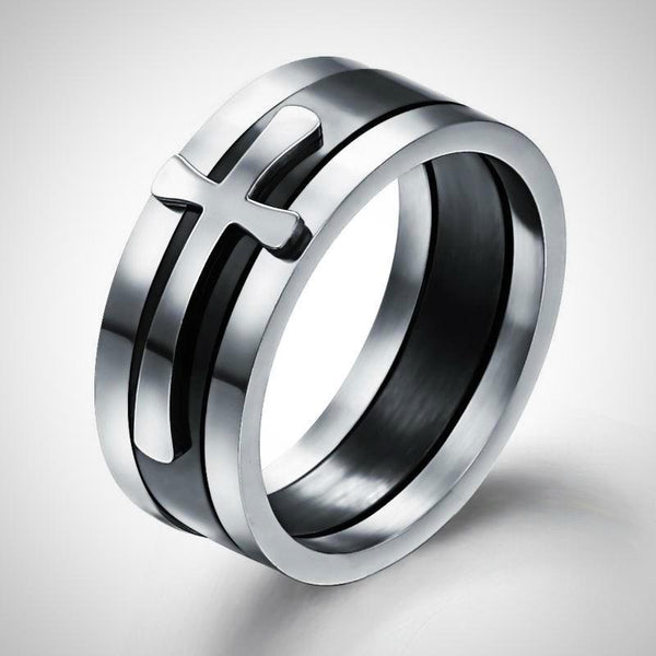 Stainless Steel Cross Finger Ring