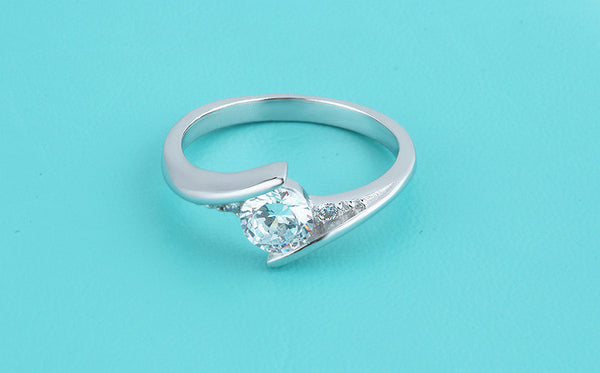 Solid Silver Crystal 925 Sterling Ring