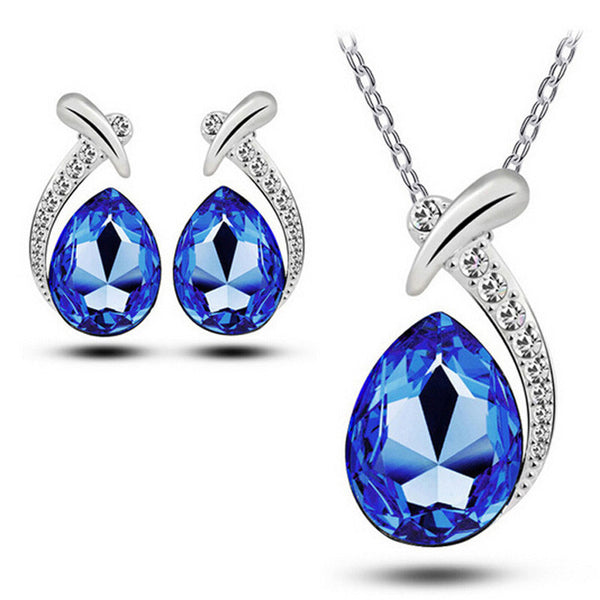 Women's Heart Of Design Of Necklace+1Pair Earring