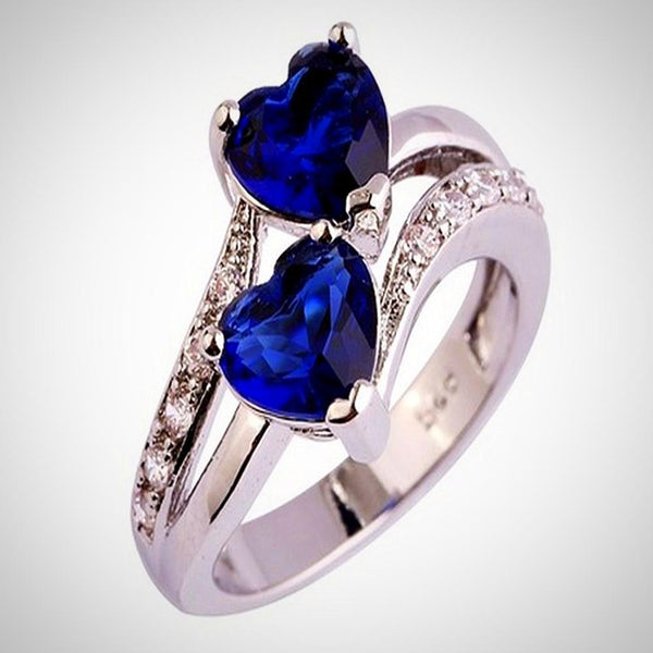 Lover Heart Cut Sapphire & Ruby Gemstone Silver Ring