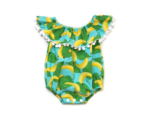 Banana Ruffle Romper | 0/3m // ready to ship