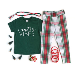 Christmas Plaid Leggings // kids
