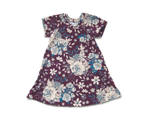 Plum Floral T-Shirt Dress // kids