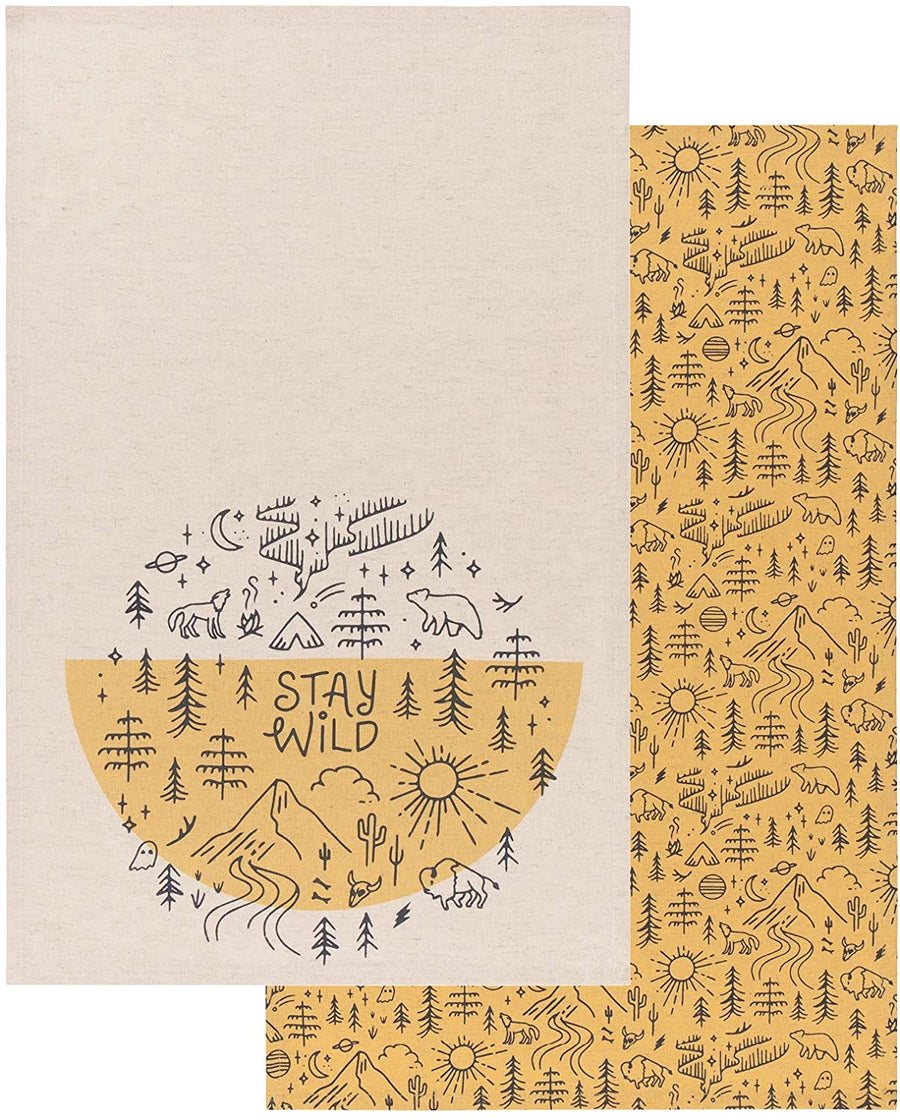 Set of Two Dishtowels -  Stay Wild