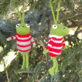 Frog in Striped Sweater Ornament