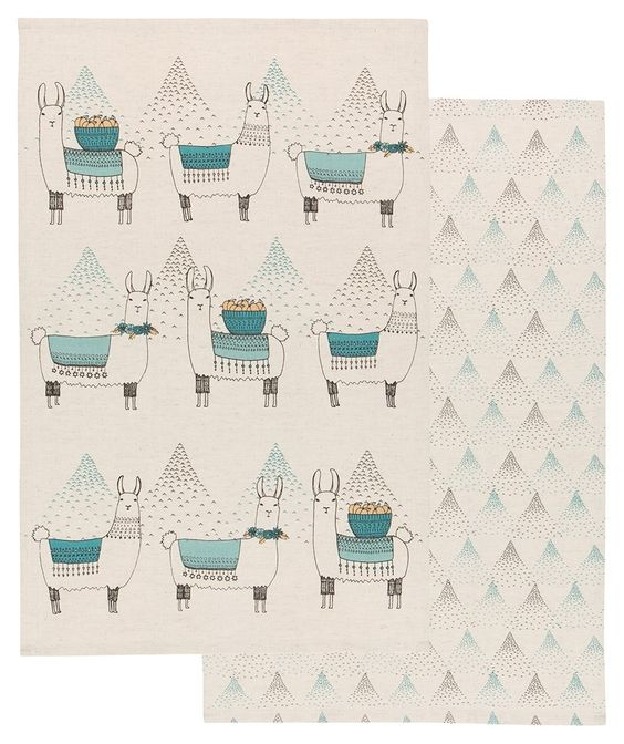 Set of Two Dishtowels -  Llamarama