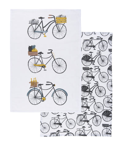 Set of Two Bicicletta Tea Towels