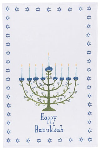 Hanukkah Tree Print Tea Towel