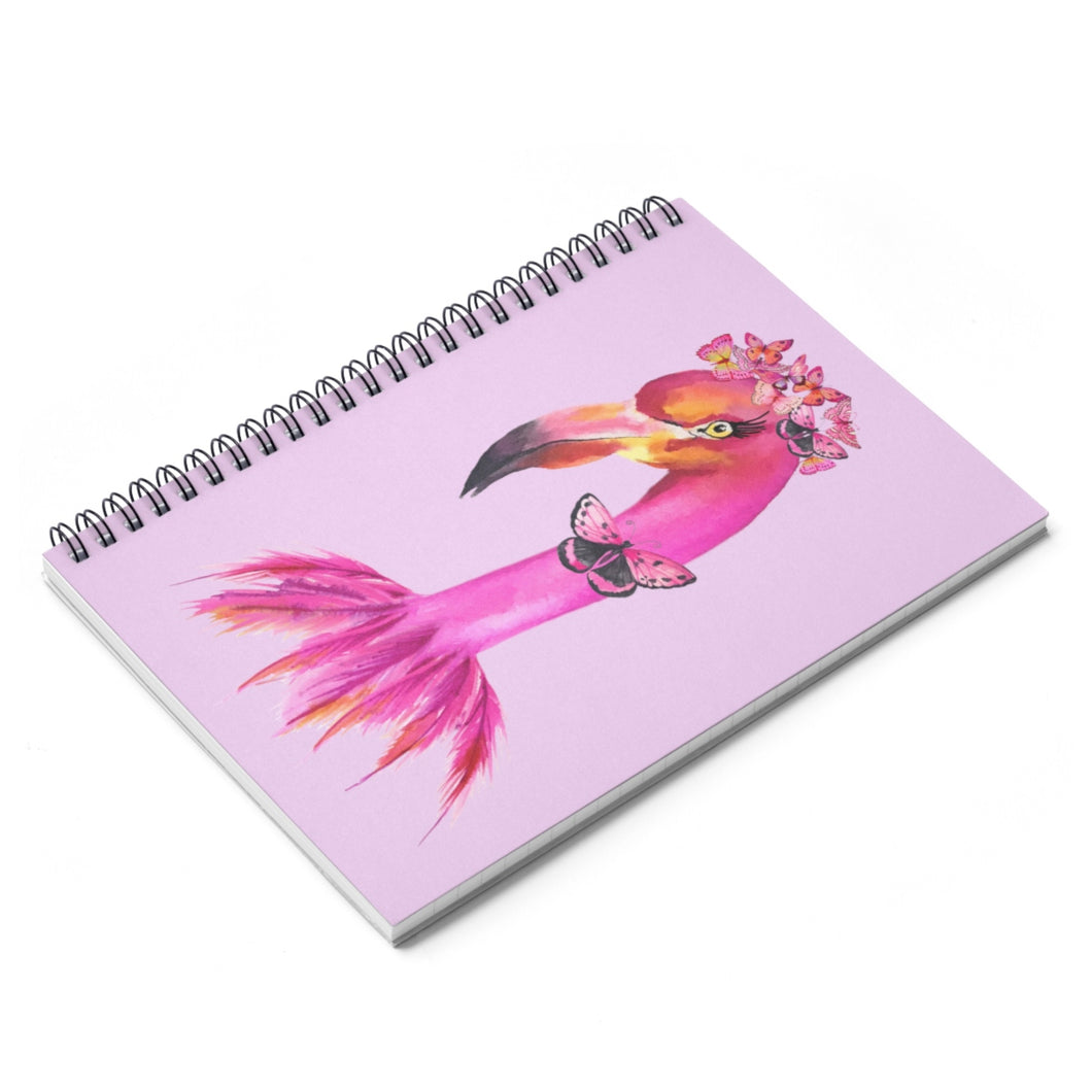 Fancy Butterfly Flamingo Pink Spiral Notebook - Ruled Line