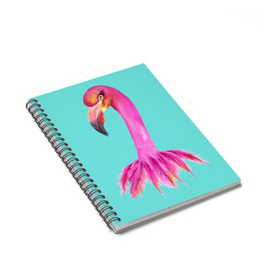 Fancy Butterfly Flamingo Aqua Spiral Notebook - Ruled Line