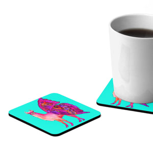 Butterfly Llama Aqua Square Hardboard Coaster Set - 4pcs
