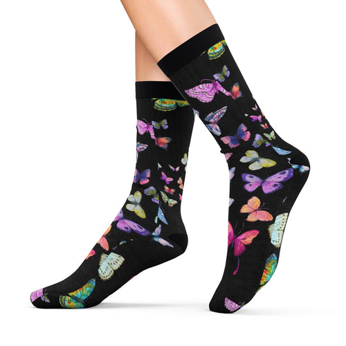 Black Butterfly Swarm Sublimation Socks