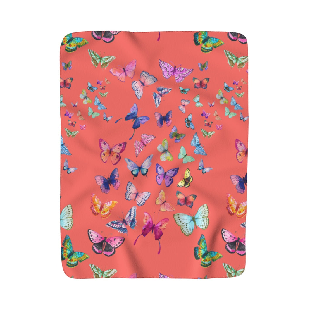 Butterfly Swarm Coral Sherpa Fleece Blanket