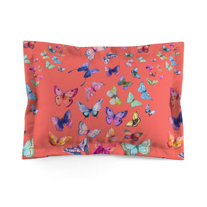 Butterfly Swarm Coral Microfiber Pillow Sham