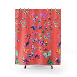 Butterfly Swarm Coral Shower Curtain