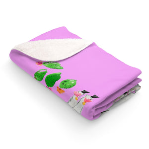 All Love Llama Violet Pink Sherpa Fleece Blanket