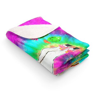 All Love Llama Tye Dye Sherpa Fleece Blanket