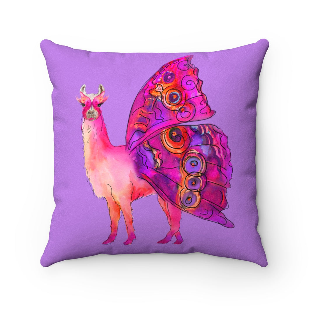Butterfly Llama Purple Faux Suede Square Pillow