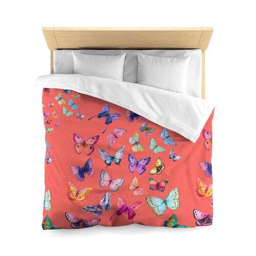 Butterfly Swarm Coral Microfiber Duvet Cover