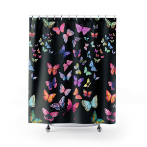 Butterfly Swarm Black Shower Curtains