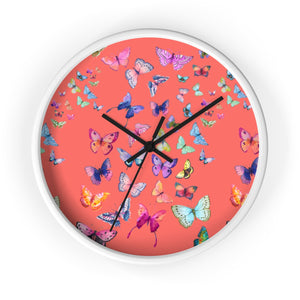 Butterfly Swarm Coral Wall Clock