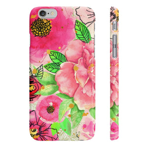 Peach Flower Birds Wpaps Slim Phone Cases