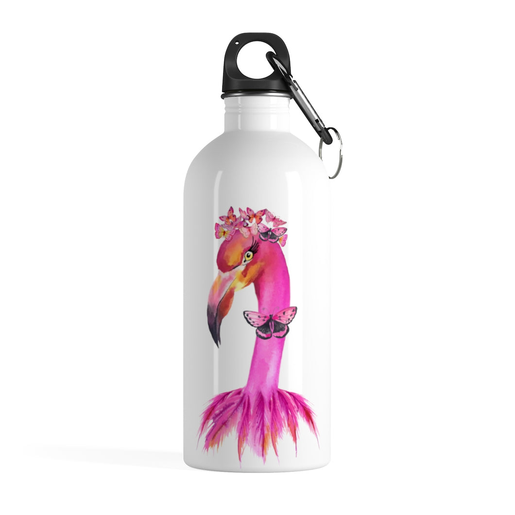 Fancy Butterfly Flamingo Stainless Steel Water Bottle